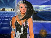 Science Fiction Mixed Media Framed Prints - Blue Rays on the Sun Framed Print by Hector E Soto