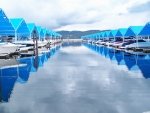 Boat Slip Posters - Blue Reflections Poster by Mark Cheney