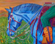 Cowgirl Prints Paintings - Blue Rider by Andrea Folts