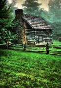 Gloomy Framed Prints - Blue Ridge Cabin Framed Print by Darren Fisher