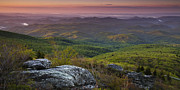 Mountains Posters - Blue Ridge Dawn Panorama Poster by Andrew Soundarajan
