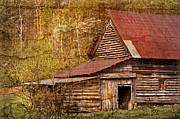 Smokey Mountains Posters - Blue Ridge Mountain Barn Poster by Debra and Dave Vanderlaan