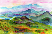 Ginette Fine Art Llc Ginette Callaway Metal Prints - Blue Ridge Mountains Georgia Landscape  Watercolor  Metal Print by Ginette Fine Art LLC Ginette Callaway