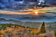 Cowee Mountain Overlook Prints - Blue Ridge Mountains Sunset Print by Mary Anne Baker