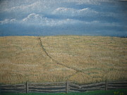 Split Rail Fence Painting Prints - Blue Ridge Mystery Print by Donna Sigmon