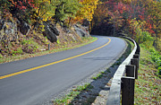 Bend In The Road Posters - Blue Ridge Parkway Autumn Road Poster by Bruce Gourley