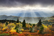 Autumn Landscapes Framed Prints - Blue Ridge Parkway Light Rays - Enlightenment Framed Print by Dave Allen
