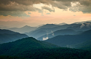 Clouds Layers Framed Prints - Blue Ridge Parkway NC - Evening Glow Framed Print by Dave Allen