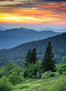 Great Smoky Mountains Prints - Blue Ridge Parkway NC Landscape - Fire in the Mountains Print by Dave Allen