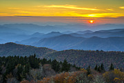 Gsmnp Prints - Blue Ridge Parkway Sunset - For the Love of Autumn Print by Dave Allen