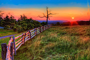 Rail Fence Framed Prints - Blue Ridge Sunrise at Doughton II Framed Print by Dan Carmichael