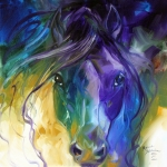 Marcia Prints - Blue Roan Abstract Print by Marcia Baldwin