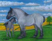 Rural Living Painting Posters - Blue Roan Mare with her Colt Poster by Anna Folkartanna Maciejewska-Dyba