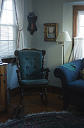 Cushion Posters - Blue Rocking Chair Poster by Roberto Westbrook