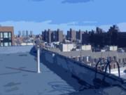 Blue Rooftop Print by Benjamin Kline