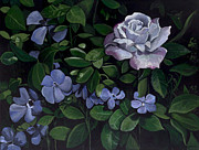 Deep Greens Posters - Blue Rose and Vinca Poster by Susan  Brasch