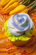 Color Yellow Posters - Blue rose cup cake Poster by Garry Gay