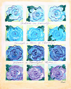 Lattice Painting Metal Prints - Blue Roses Metal Print by Renee Womack