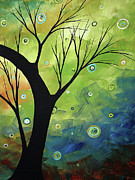 Tree Art Paintings - Blue Sapphire 3 by MADART by Megan Duncanson