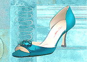 Stilettos Paintings - Blue Satin Ball Gown Pump by Elaine Plesser