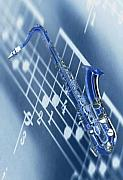 Rhythm And Blues Music Prints - Blue Saxophone Print by Norman Reutter