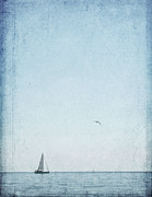 Sea Photography Photos - Blue Sea With A Boat by Marta Nardini