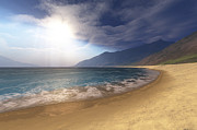 Coastline Digital Art - Blue Seas And Radient Sun Shine In This by Corey Ford
