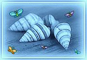 Shell Art Posters - Blue seashells Poster by Linda Sannuti