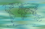 Earth Map  Digital Art - Blue Shades World Map digital art by Georgeta  Blanaru