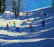Skiing Paintings - Blue shadows by Andrew Macara