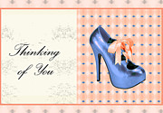 Prints Of Fashion Posters - Blue shoe on pink greeting card expresses Thinking of You Poster by Maralaina Holliday
