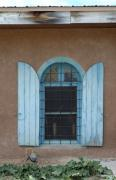 Adobe Prints - Blue Shutters Print by Jerry McElroy