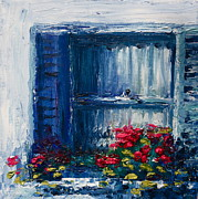 Red Geraniums Framed Prints - Blue Shutters Framed Print by Yvonne Ayoub