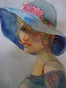 Portrait Of Woman Originals - Blue Sisters Blue Hat by Karen McDonald