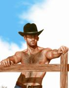 Cowboy  Drawings Metal Prints - Blue Skies Metal Print by Bruce Lennon