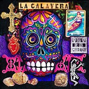 Dia De Los Muertos Mixed Media - Blue Skull by Candy Mayer