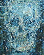 Skull Paintings - Blue Skull Oil Portrait by Fabrizio Cassetta