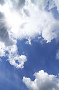 Sunny Metal Prints - Blue Sky And Cloud Metal Print by Setsiri Silapasuwanchai