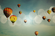 Balloon Fiesta Posters - Blue Sky Balloon Light Poster by Andrea Hazel Ihlefeld