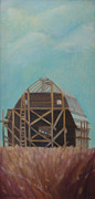 Vintage Painter Painting Prints - Blue Sky Barn Raising Print by The Vintage Painter