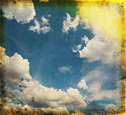 Manuscript Photo Prints - Blue Sky On Old Grunge Paper Print by Setsiri Silapasuwanchai