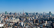 Japan Town Photos - Blue sky panoramic view over downtown Tokyo by Ulrich Schade