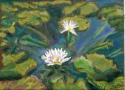 Texas Pastels Originals - Blue Sky Pond by Cindy Morawski