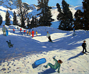 Skiing Paintings - Blue Sledge by Andrew Macara