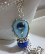 Science Fiction Jewelry - Blue Space Necklace by Janet  Telander