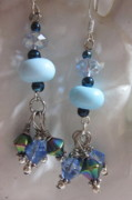 Sky Jewelry - Blue Sparkles Earrings by Janet  Telander