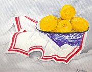 Red White And Blue Paintings - Blue Spatterware Still Life by Kathryn B