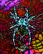 Webs Posters - Blue Spider in Abstract Poster by Wingsdomain Art and Photography