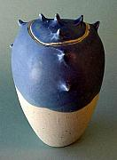 Wheel Thrown Ceramics Originals - Blue Spike Jar by Skip Bleecker