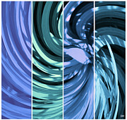 Swish Prints - Blue Spin Tone  Print by Debra     Vatalaro